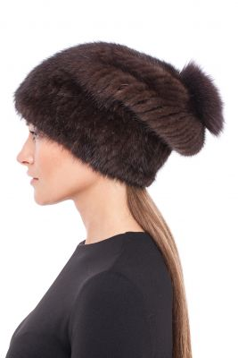 """Knitted hat """"Pinocchio"""" with mink/fox (brown/brown)"""