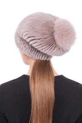 """Knitted hat """"Pinocchio"""" with mink/fox (beige/beige)"""