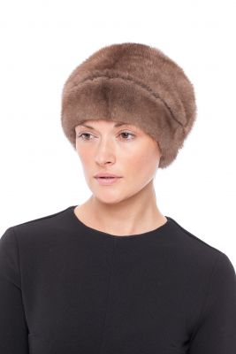 Fur hat with flower on the back mink natural Brown