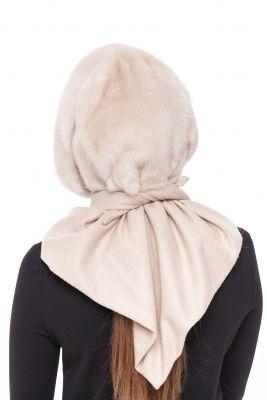 Mink fur hood natural Pearl