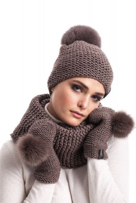 Knitted light brown  wool set