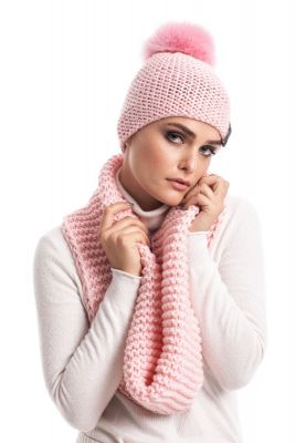 Wool hood/snood pink