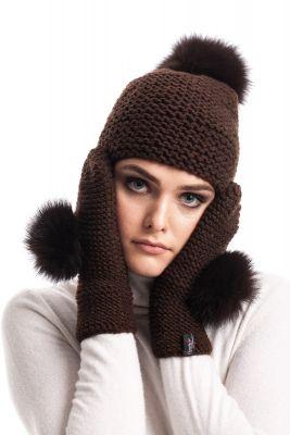 Woolen mittens (brown)