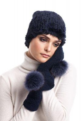 Woolen mittens (blue)