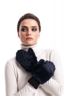 Knitted mink mittens blue