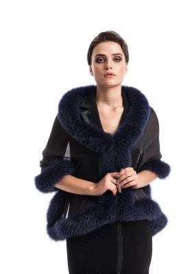 Silk scarf black with fox Blue