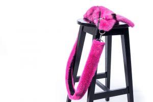 Set of mink fur bumbag and mink fur belt (pink)
