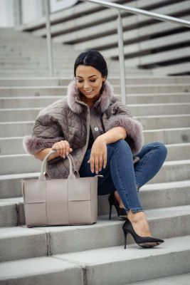 Jacket with fox fur in cappuccino