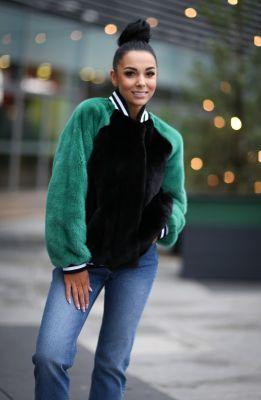 Mink fur Bomber Jacket in green