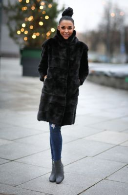 Mink fur black coat