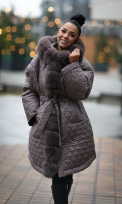 Winter jacket with a hood in cappuccino