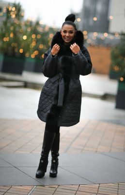 Winter jacket with a hood in black