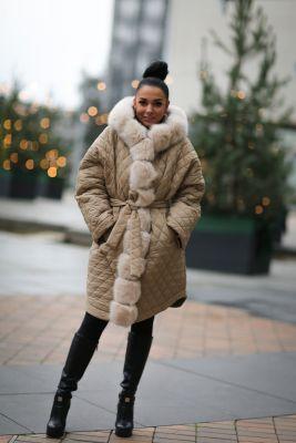 Winter jacket with a hood in beige