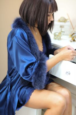 Satin robe with fox fur decor blue