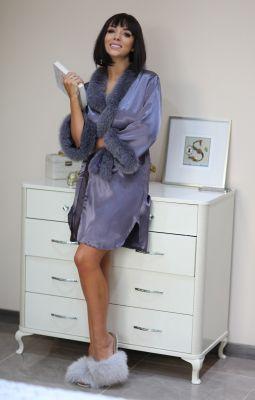 Satin robe with fox fur decor in dark grey