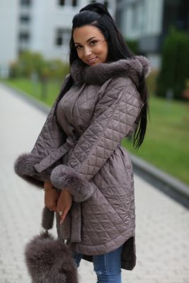 Hooded jacket with fox fur in cappuccino color