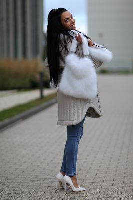 Bag from fox fur in white