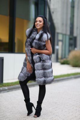 Long Vest of blue silver fox fur