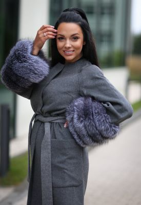 Wool and cashmere coat grey with blue silver fox fur sleeves