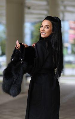 Bag from fox fur in black