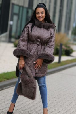 Bag from fox fur in brown
