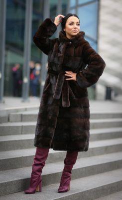 Mink fur coat in brown