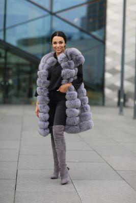 Long vest of grey fox fur