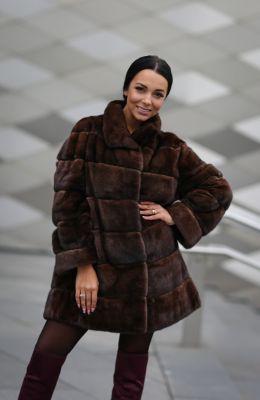 Mink fur brown coat