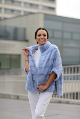 Mink fur poncho light blue