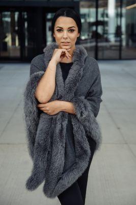 Cashmere shawl dark grey with natural blue silver fox fur