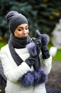Dark grey wool mittens with blue silver fox pompom