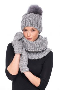 Knitted grey wool hat with blue silverfox pompom