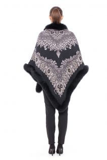 Double cashmere shawl with fox black