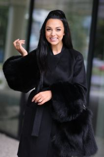 Wool and cashmere coat black  with black fox fur sleeves