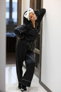 Set of silk nightwear pyjamas, sleeping mask eyes bandage and slippers in black
